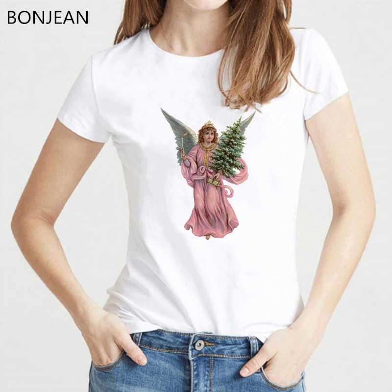 Boże narodzenie anioł t-shirt z nadrukiem kobiety w stylu vintage t shirt biały lato top koszulka damska ulzzang tumblr ubrania streetwear tee koszula