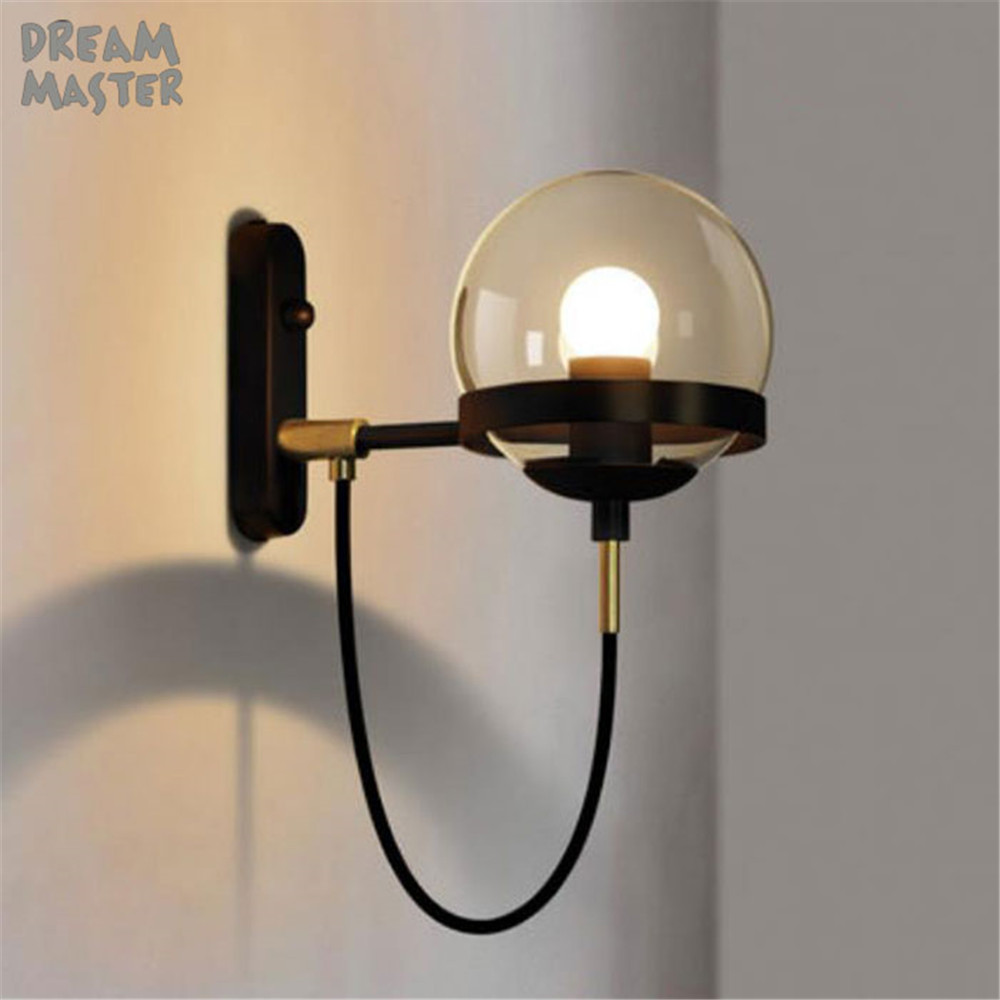 Antique Glass Wall Lamp American Retro Country Loft Style lamps Industrial Vintage Iron wall light for Bar Cafe Home Lighting цена