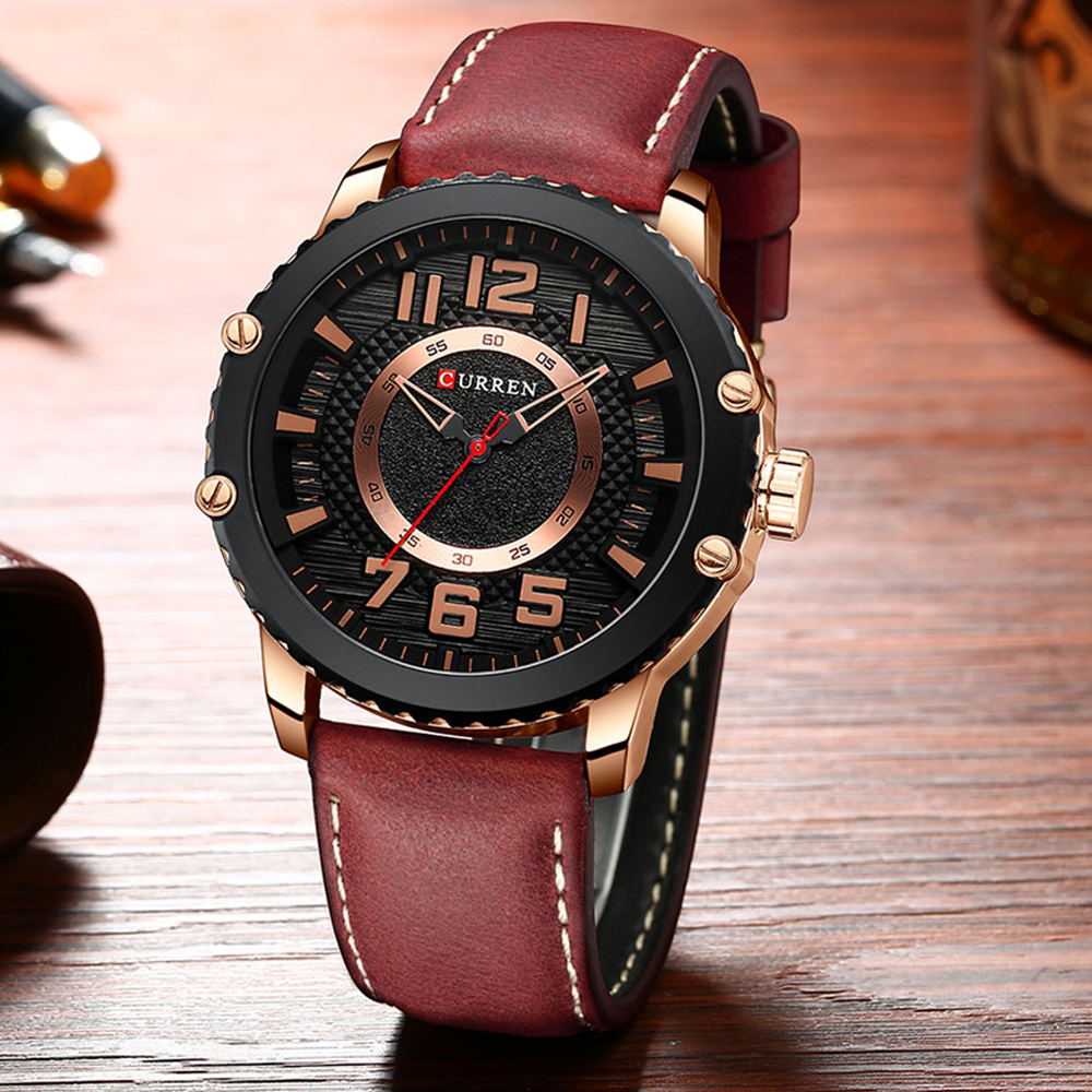 New Leather Watches Mens Top Brand CURREN Fashion Men's Clock Causal Business Quartz Wristwatch Gift Relogio Masculino