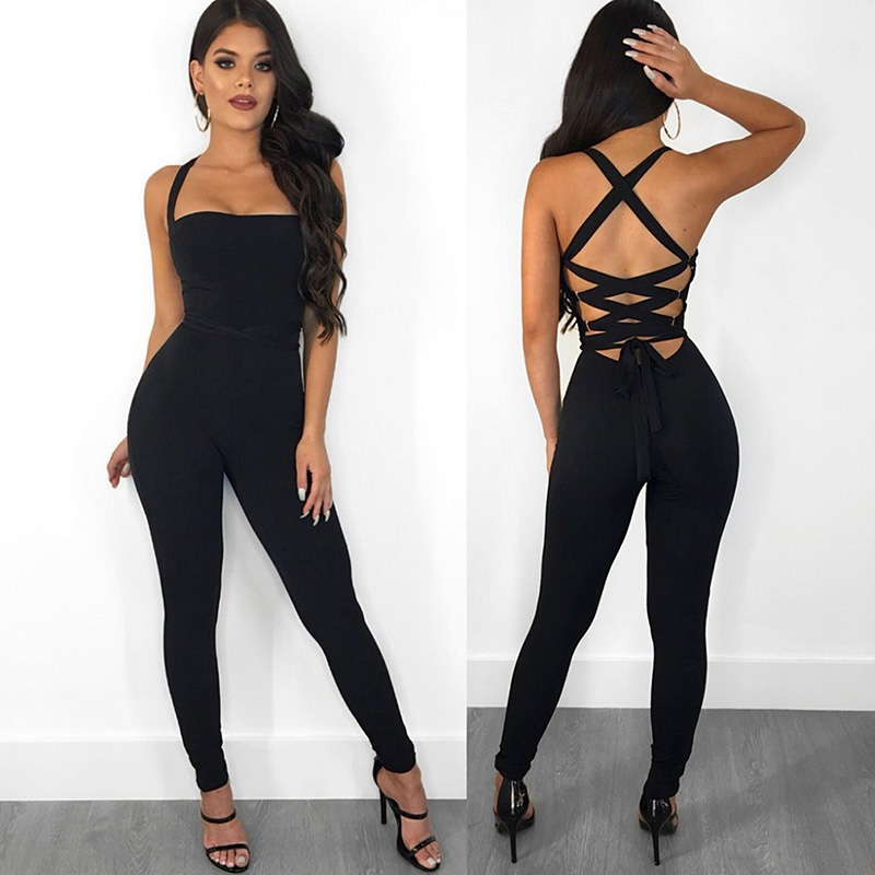 Jumpsuits Women Bodysuit Overalls Rompers Bandage Tights Lace-Up Backless Sexy Black