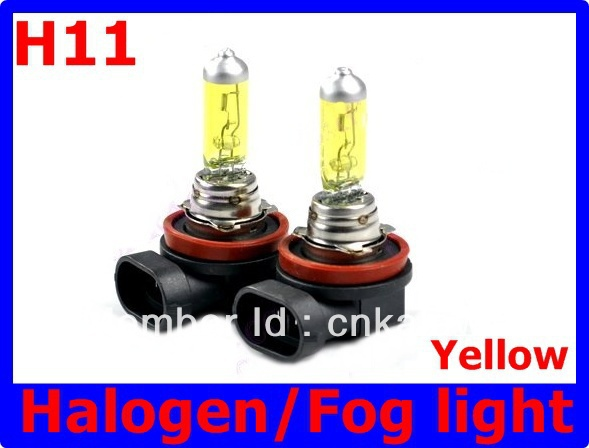 Amber/Yellow Vision 2 X H11 Xenon Halogen Light Bulbs 12V 100W Auto Headlight Headlamp Fog light 3000~3500K Free Shipping LLL  new 1set hb3 9005 12v 65w 3000 3500k amber yellow car halogen xenon headlight light bulb lamp with retail box bengear dropship