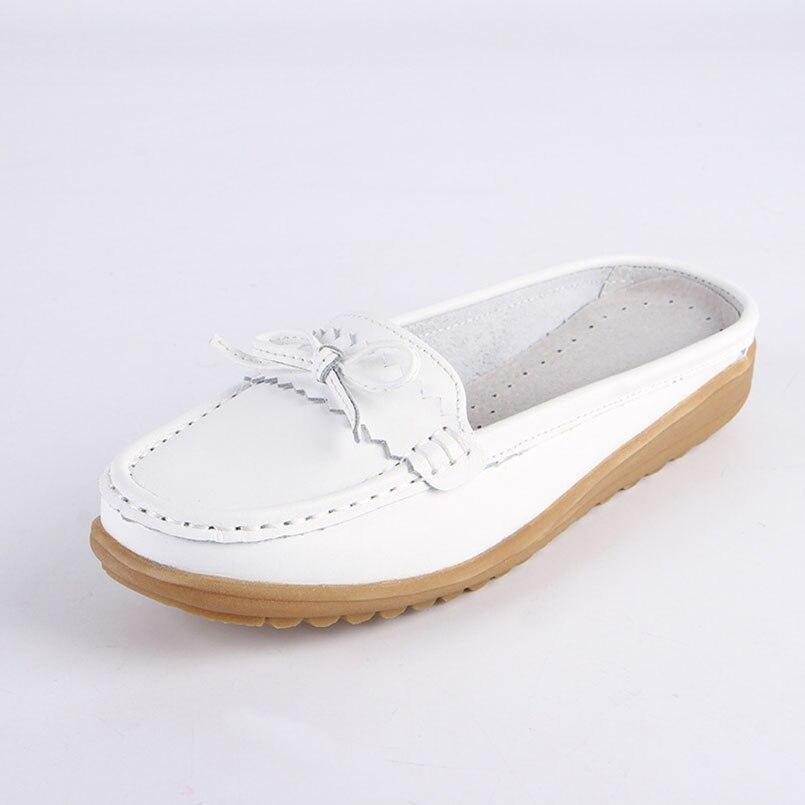 rose Chaussures blanc Femmes Cuir Mocassins Glissent Diapositives Sin Agujero Sur Sandales Fidanei Ballet En Pantoufles Pour Appartements bleu Femme Véritable White HwdRqER