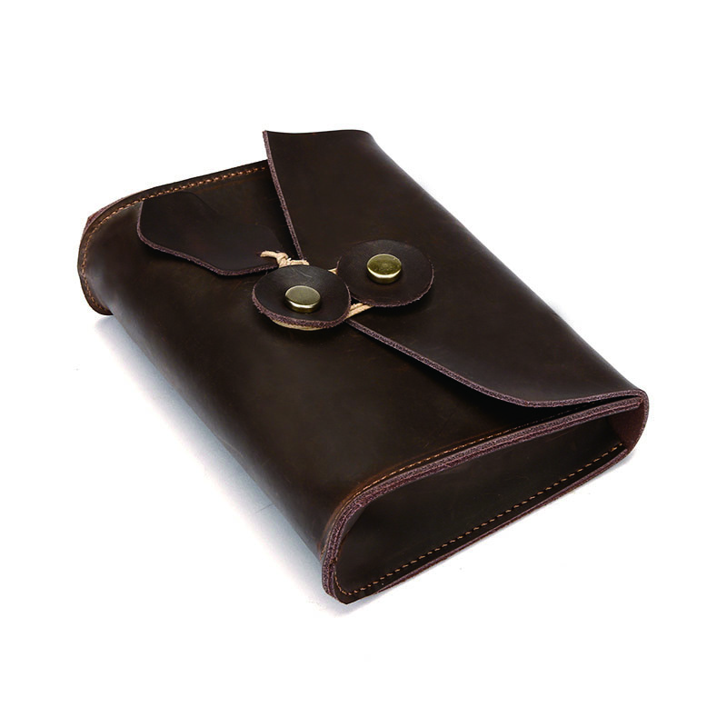 Small Leather Document Organizer Cow Leather Document Holder Files Storage Bag 17*13*5 Cm