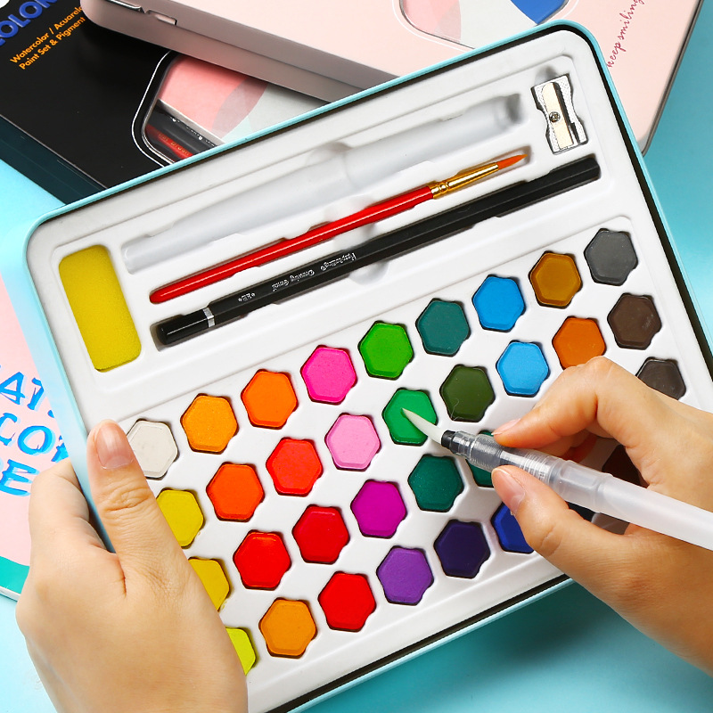 где купить 36 Color Solid Watercolor Paint Set Iron Box Professional Water Color Brush Portable Art Painting Supplies Watercolor Gift дешево