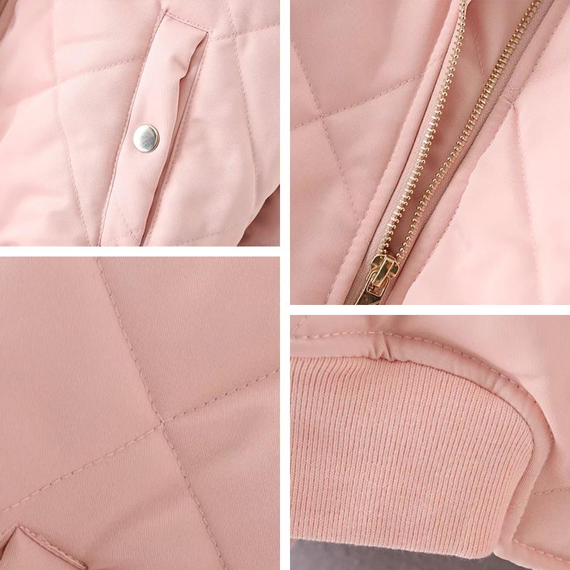 Bella Philosophy autumn winter quilting bomber jacket women coat zipper long sleeve winter jacket cotton padded Bella Philosophy autumn winter quilting bomber jacket women coat zipper long sleeve winter jacket cotton-padded pink outwears