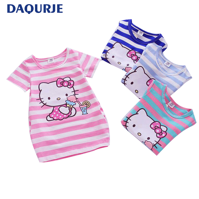 Girls Dress 2018 Fashion Stripe Summer Kids Dresses For Girls Clothes Cartoon Cotton Brand Children Clothing Princess Dress 2-8Y summer girls dress 2017 stripe dresses for girl with headband kids clothing infant princess children vestidos kids clothes