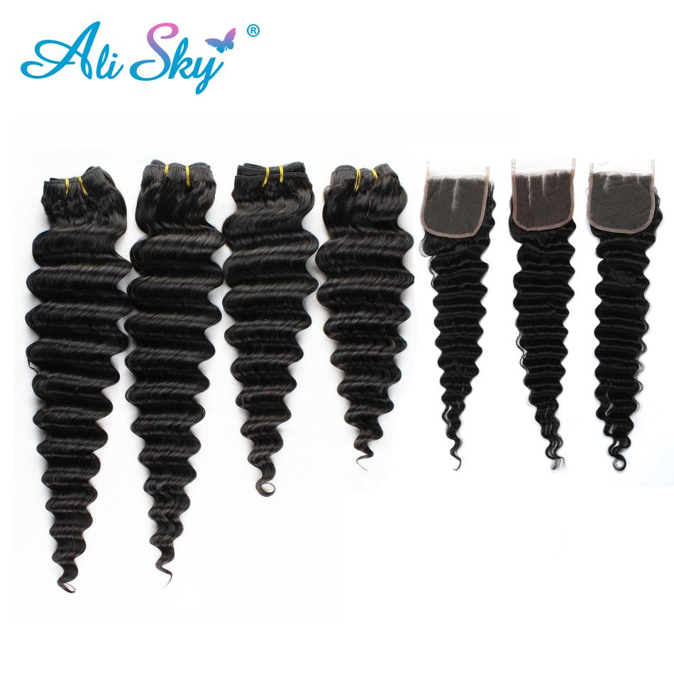 Brazilian Deep Wave Hair 4 Bundles With Lace Closure 100% Human Hair Bundles With Closure No Tangle Non Remy Ali Sky Hair