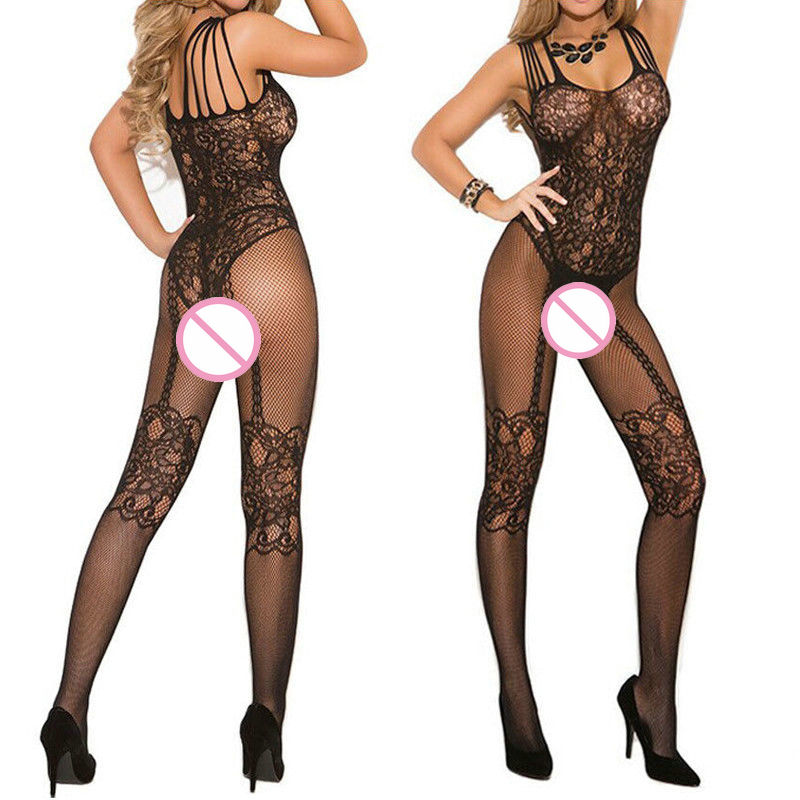 2018 Black Bodystocking Fishnet Sheer Mesh Bodysuit Sexy Leotard Sex Clothes Open Crotch Mesh Flower Hot Stocking On The Body