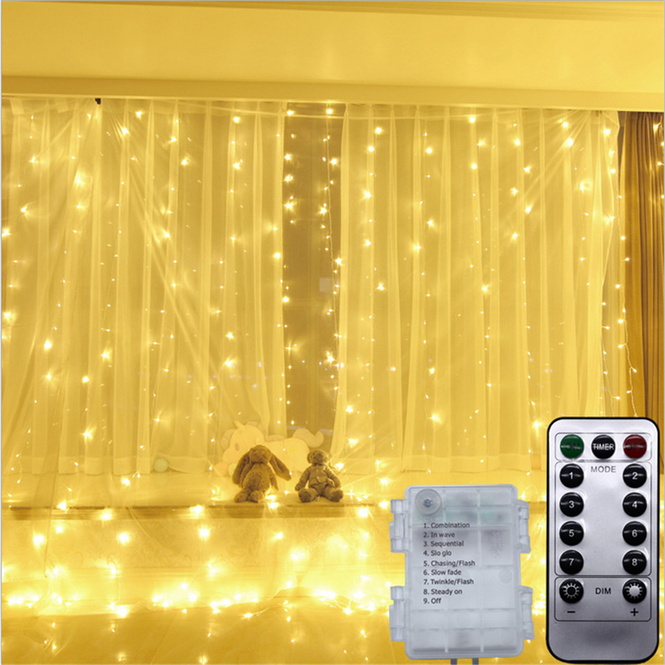 Battery Powered 3X3M 300 Leds Copper LED Curtain String Light Waterproof Flexible Indoor Outdoor Fairy Decoration 8 Modes