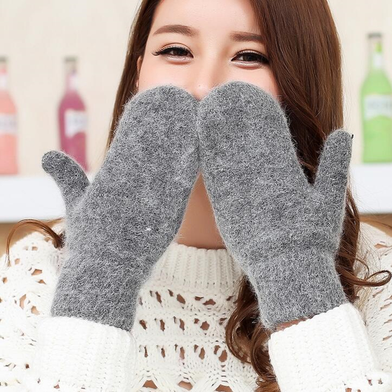 YGYEEG Double-layer Rabbit Hair Gloves Female Winter Solid Color All Fingers Winter Women Glove Girls Mittens Winter Knit Gloves