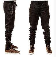 GMANCL Men Harajuku Casual PU Leather Justin Bieber Hip Hop Pants Kanye West Side Zipper Mens