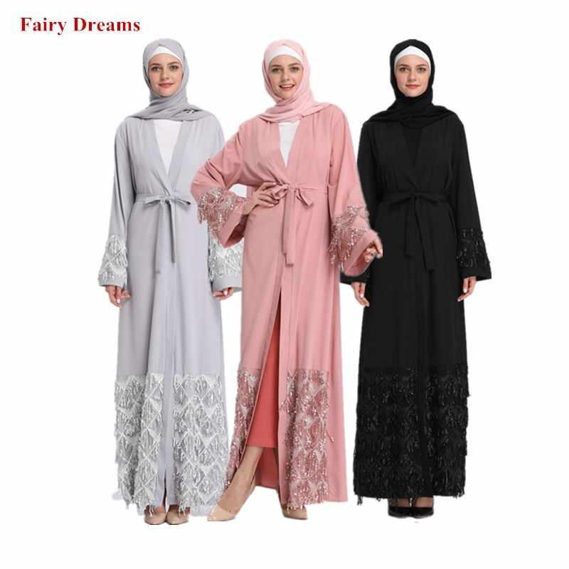 Розовый серый черный Абая для женщин Дубаи Бандажное пальто блёстки мусульманский кафтан длинный кардиган Болеро хиджаб Исламская одежда головной платок