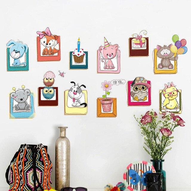 Vinyl waterproof 3D ZOO animal dog owl Butterfly flowers Wall ...