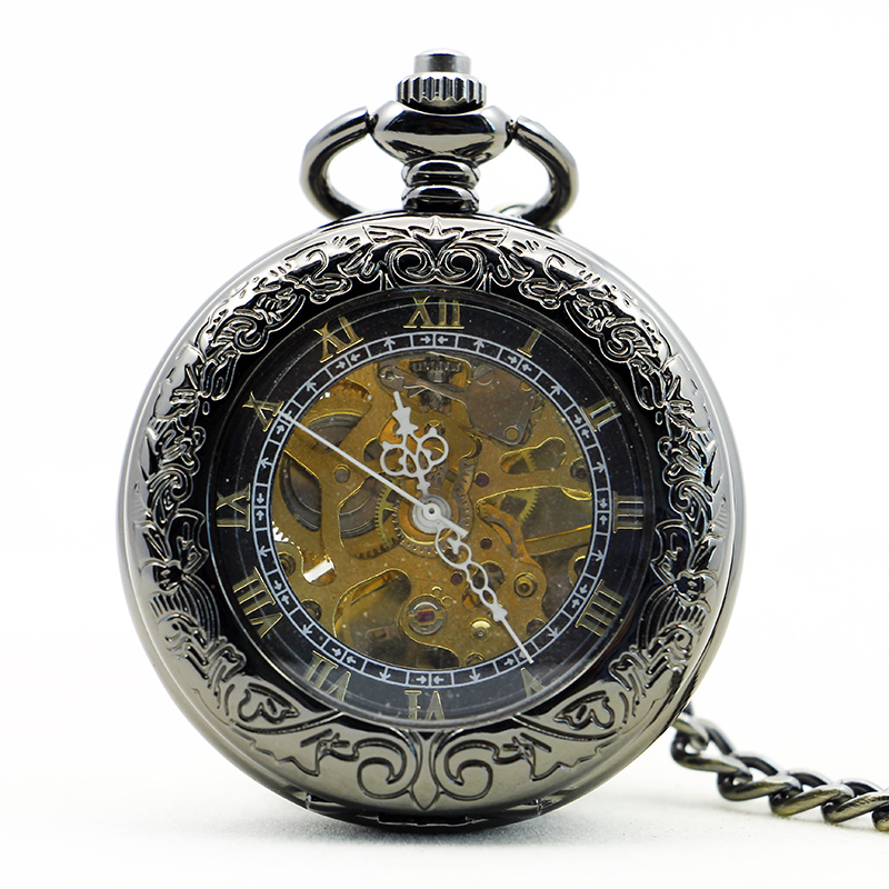 Fashion Retro Luxury Automatic Mechanical Pocket Watch Cool Stylish Vintage Fob Chain Clock Pendant For Men Women PJX1155