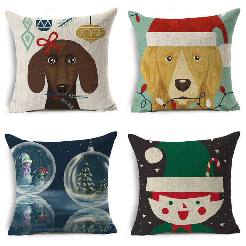 Christmas Cartoon Pillow Cover Santa Claus Dog Deer Letter Cushion Cover Decorative Throw Pillow Case Sofa Home Decor almofadas