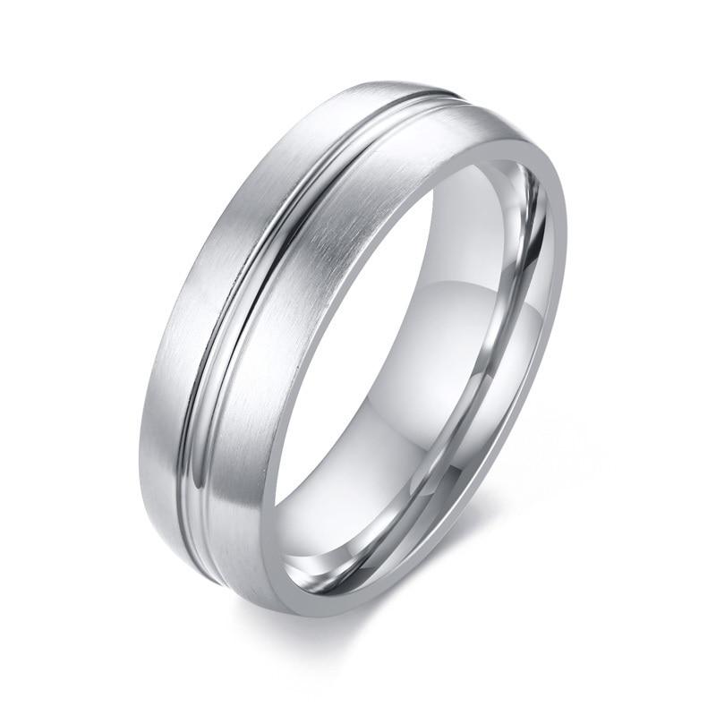 Titanium Grooved 6mm Satin Mens Wedding Ring Sz 11
