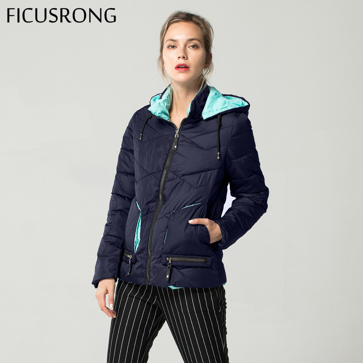 New 2019 Fashion Slim Cotton Padded Jacket Female Autumn Winter Jacket Women Down   Parkas   Outerwear Womens Hooded Coats FICUSRONG