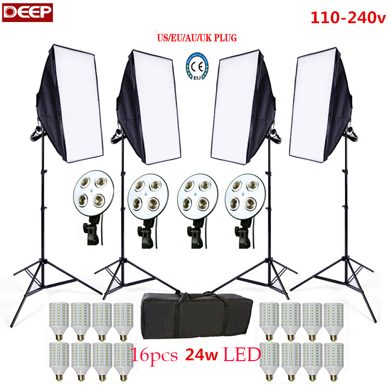 Photo Studio Softbox kit 4pcs light stand 4pcs light holder 4-In-1 Socket 4pcs softbox video lighting soft box 1pc carrying bag  portable photo studio 4 photographic backgrounds 1 camera stand 2 halogen lights w carrying bag