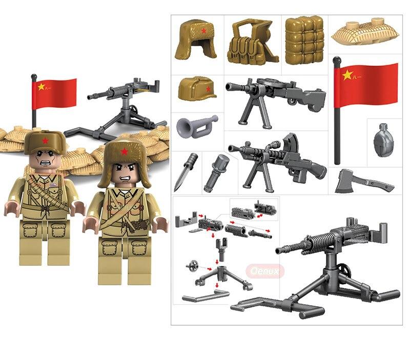 Oenux Новое поступление WW2 китайско-японской войны военные сцены китайский й солдаты армии с Книги об оружии Блок Кирпич игрушка для дети