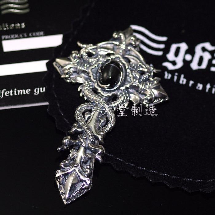 Thai silver , good vibrations carved double dragon thai silver cross pendant genuine thai silver new indian patron saint piper thai silver pendant
