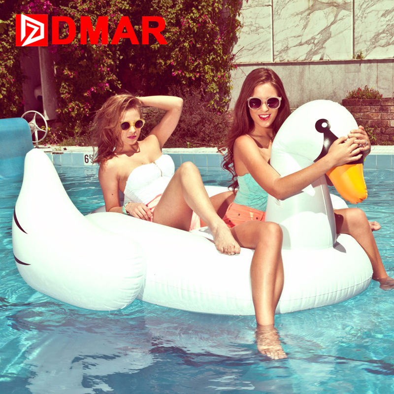 DMAR Inflatable Swan Giant Pool Float 190CM Mattress Beach Sunbathe Mat Swimming Ring Swmming Circle Beach Sea Water Party Toys