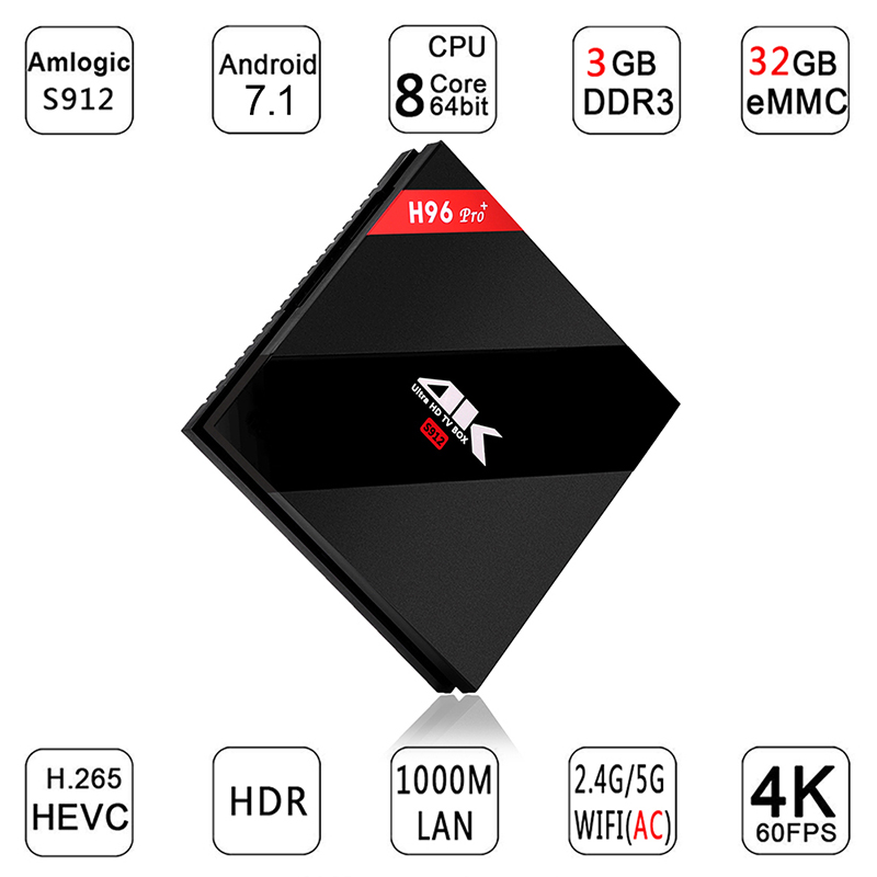 H96Pro H96 Pro+ Amlogic s912 Android Tv Box 7.1 RAM 3GB ROM 32GB 1000M LAN Bluetooth 4.1 4K HDMI Smart Media Player h96 pro plus promoitalia пировиноградный пилинг pro plus пировиноградный пилинг pro plus 50 мл 50 мл 45%