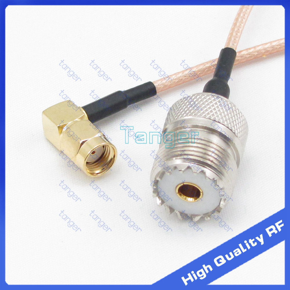 SO239 UHF female to RP-SMA male 90 degree connector jack SO-239 with 20cm 8in RG316 RF Coaxial Pigtail High Quality cable tanger rp sma female to y type 2x ip 9 ms156 male splitter combiner cable pigtail rg316 one sma point 2 ms156 connector for lte yota