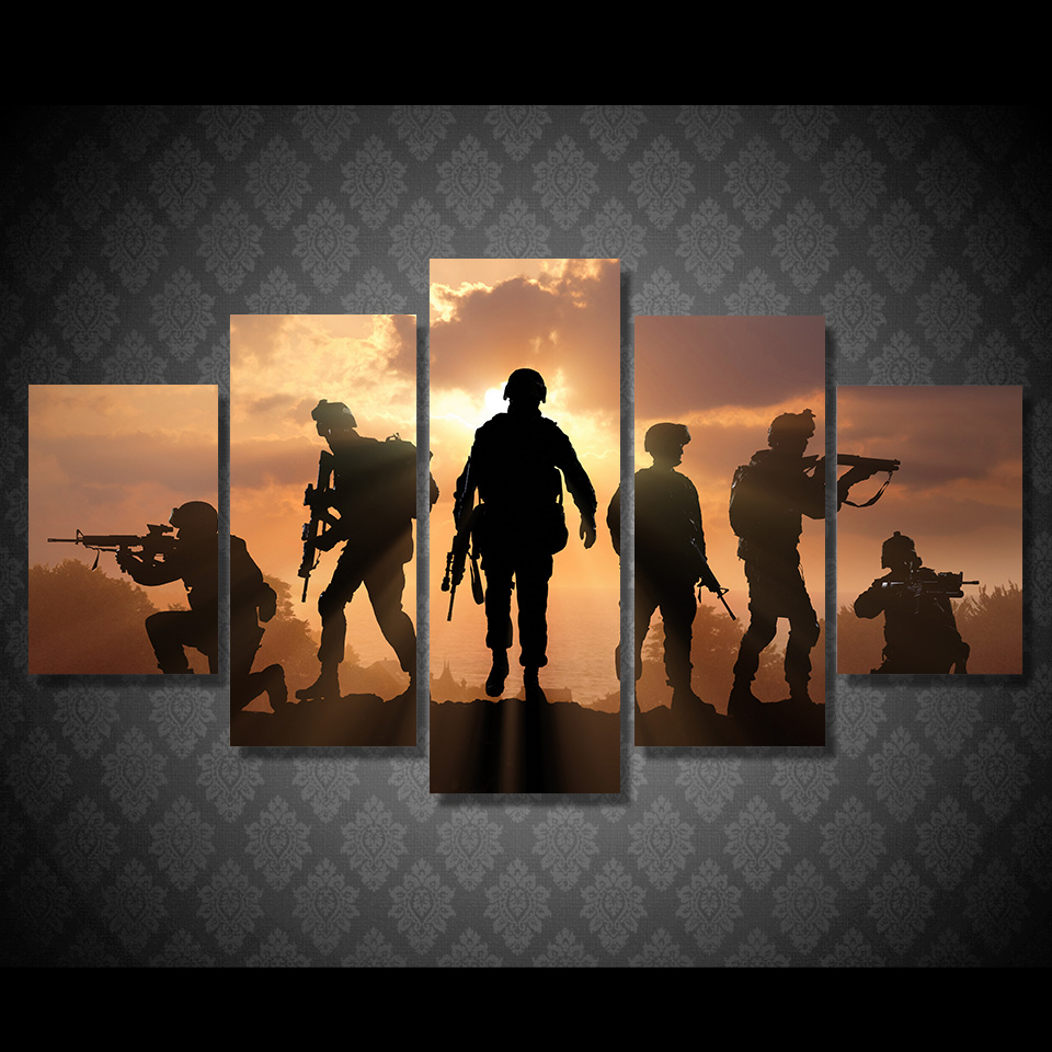 HD Printed 5 Piece Patriotic US military Painting soldiers Canvas with army Sunset Wall Pictures for Living Room battlefield 1