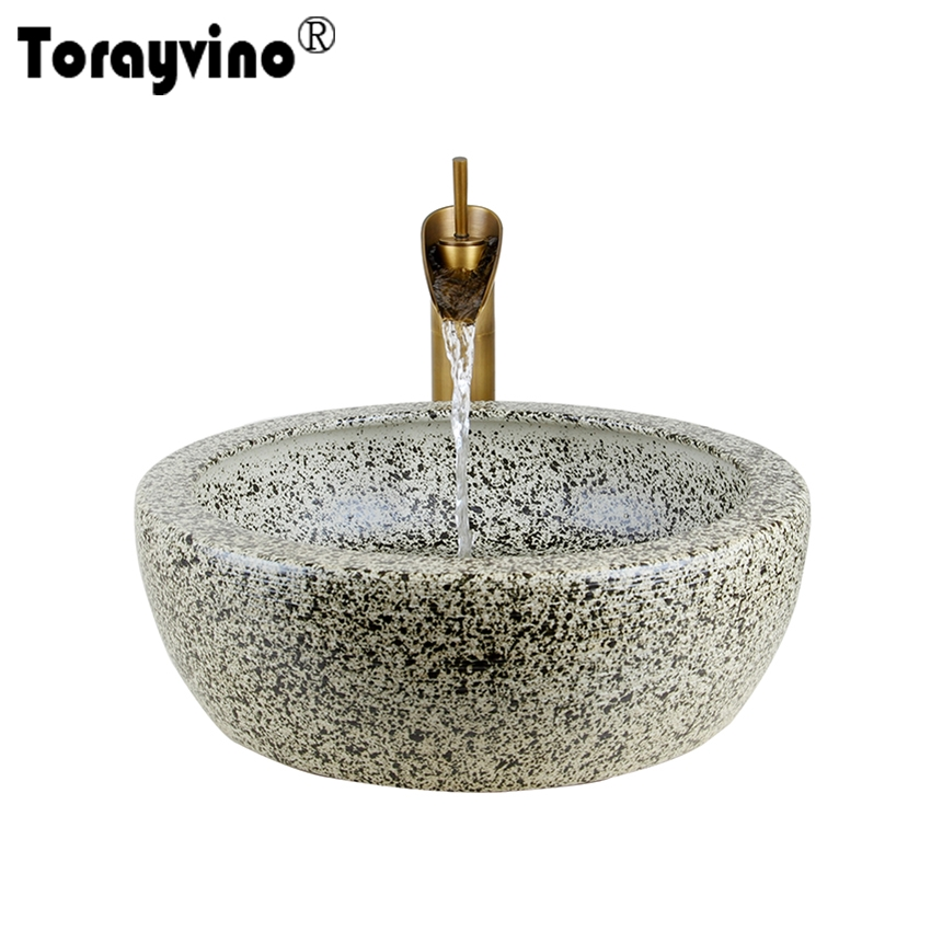 Torayvino Bathroom <font><b>Sink</b></font> Hand Paint Washbasin Tempered Ceramic Basin <font><b>Sink</b></font> With Waterfall Faucet Taps Vessel Water Drain Set