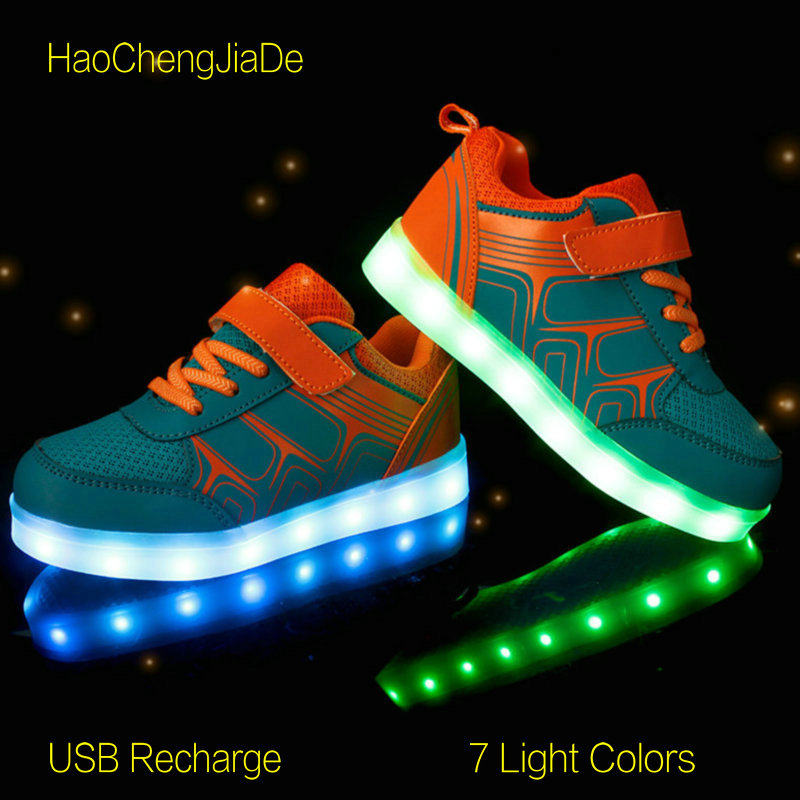 2018 Boys Girl's LED Luminous Glowing Shoes Children Breathable Sneakers USB Recharge Kids Colorful Flashing Lights Flat Shoes