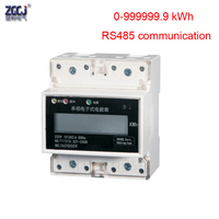LCD display 0 999999.9kWh single phase 4P Din energy meter with RS485 communication function Modebus RTU protocol