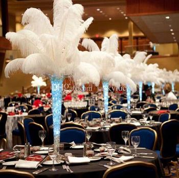 200 pcs Per lot 10-12 inch White Ostrich Feather Plume Craft Supplies Wedding Party Table Centerpieces Decoration