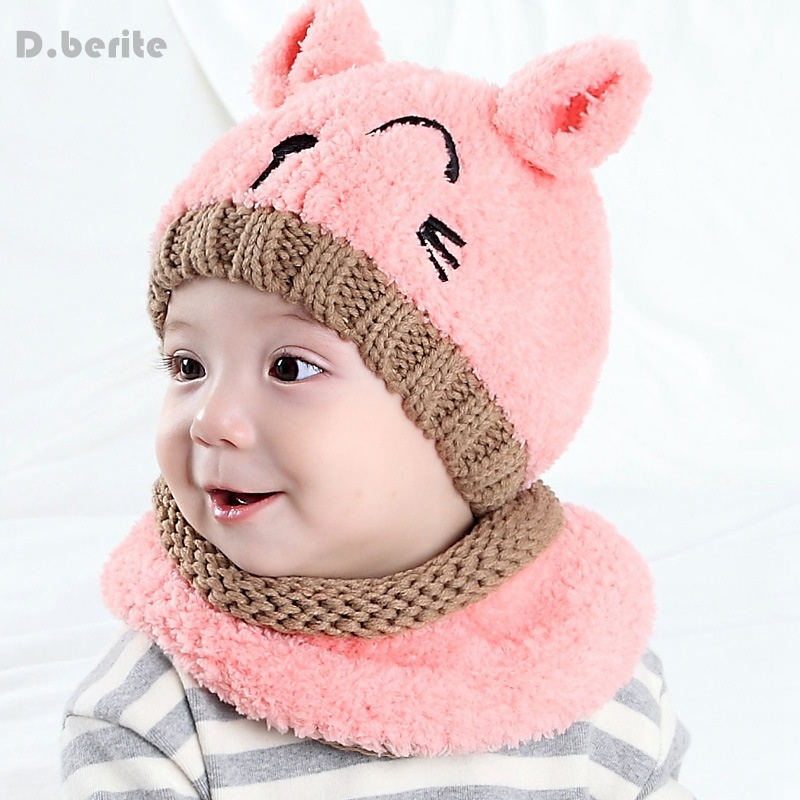 Unisex 2pcs/Set Children Neck Warmer Cap Soft Coral Velvet Winter Baby Kids Boy Girls Crochet Warm Caps Scarf Beanie Hat KYY8116