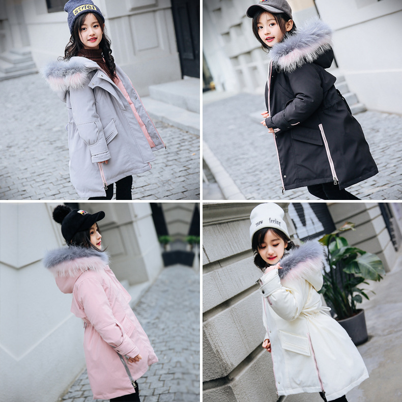 4ea008e7c Girl Winter Coat Parka Long Down Puffer Hooded Fur Collar Children ...