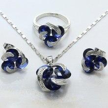 Mujeres Azul En Forma de Bola de Cristal Pendientes/Collar/ANILLO de 925 Marcos de Plata Enchapado Conjunto Joyería de La Boda Jewelry-H025