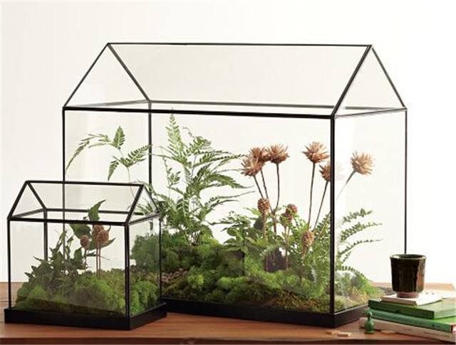 Charming Cool Mini Handmade Tabletop Glass Green Houses,Small Arched Greenhouse  Wardian Case Miniature Landscape Garden