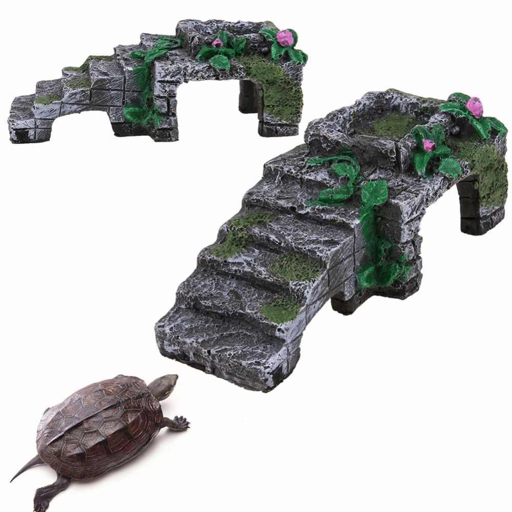 Resin Turtle Reptile Platform Toy Basking Ramp Tank Island Water Aquatic Climb Ornament Aquarium Amphibian Climb Tank Staircase
