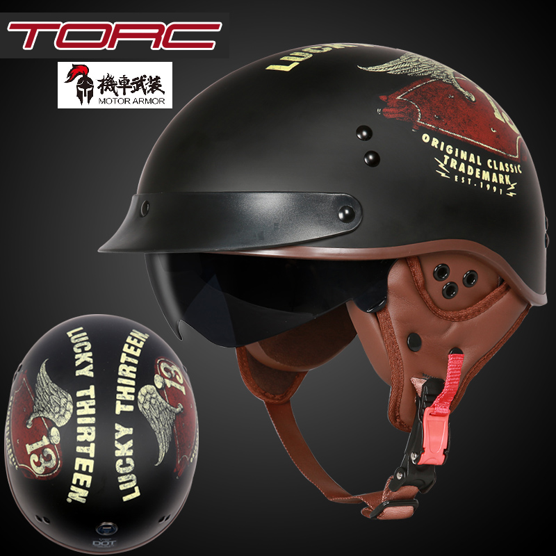 TORC T55 Motorcycle Vintage Helmet for Harley Retro Scooter Half Face Helmet with Inner Visor Lens Casco Mens Womens Summer DOT torc t57 3 4 open face vintage scotter
