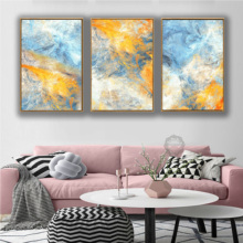 Dream Blue and Yellow Abstract Art 3 Pcs Canvas Paintings Modular Pictures Wall for Living Room Decoration No Framed
