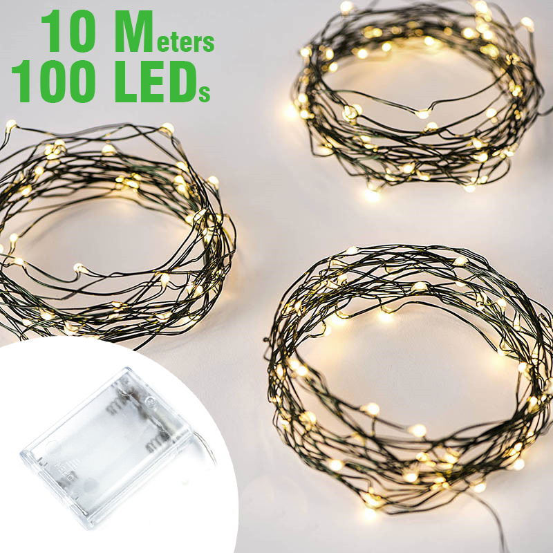<font><b>10M</b></font> <font><b>100LEDs</b></font> Green Copper Wire String <font><b>Lights</b></font> Fairy <font><b>Lights</b></font> for Holiday Party Christmas Garden Garlands Festoon Wedding Decoration image