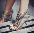 Women's Sexy Black Gold Silver shoes Sandals Sexy hollow  High Heel Gladiator Sandals Women Summer Shoes party Shoes