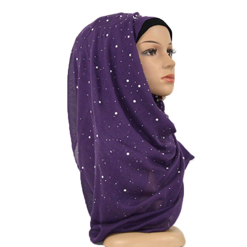 Nice Iron Silver Pearls Plain Cotton Hijab Scarf Women Shawl Soft Headband Wrap Bead Muslim Hijabs