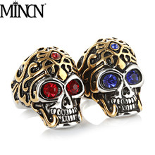MINCN  Europe and America Punk wind Skull Men Ring titanium steel ring punk rock stainles gifts for men jewelry