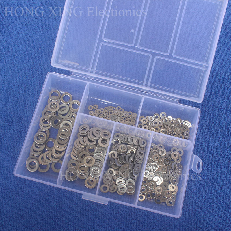 500Pcs/set DIN125 M1.6 M2 M2.5 M3 M4 M5 304 Stainless Steel Flat Washer Plain Washer Gaskets Assortment Kit