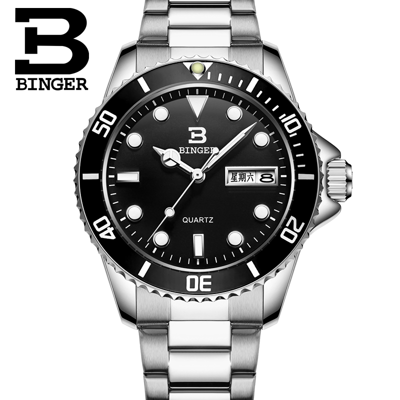 Hot BINGER Famous Brand Watches Men Watch Top Luxury Quartz Watches Steel Waterproof Clock relogio masculino B-9203M woonun top famous brand luxury gold watch men waterproof shockproof full steel diamond quartz watches for men relogio masculino