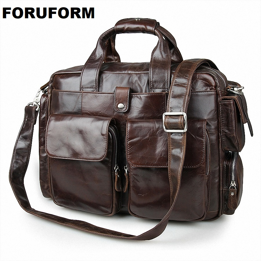 Genuine Leather Men Briefcase Man Bags Business 15.6 Inch Laptop Tote Bag Men's Crossbody Shoulder Bag Men's Travel Bags LI-1284