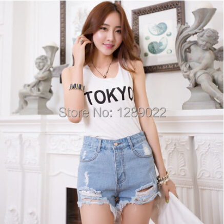 New 2018 Summer Style Hole Punk Rock Fashion High Waisted Denim Shorts Vintage Ripped Short Jeans Sexy Womens Short Femme
