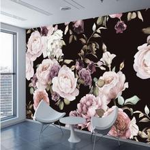 Пользовательские 3D Фото Обои Настенная роспись Ручная роспись черный белый розовый цветок пиона настенная гостиная домашний Декор Картина, фотообои
