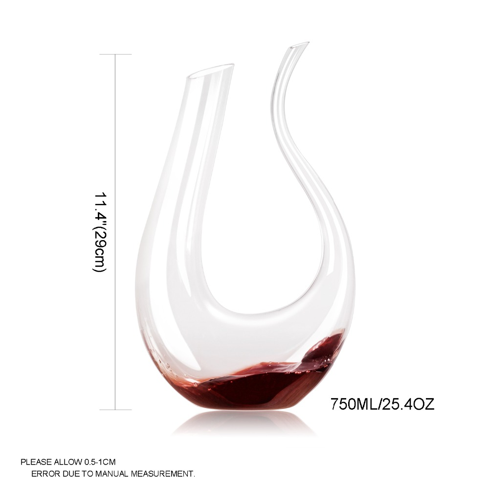 Decanter Wine Glas Us 45 36 20 Off Handmade Lead Free 750ml Wine Decanter Crystal Glass U Shaped Horn Wine Glass Wine Dispenser In Decanters From Home Garden On