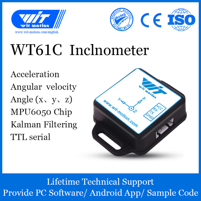 WitMotion WT61C AHRS Inclinometer Accelerometer+Gyroscope+Angle(High Precision 3 Axis XYZ, 100HZ Output), Provide PC/Android App